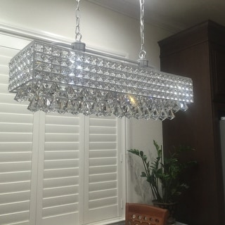 Shop jolie silver 5 light rectangular crystal chandelier free jolie silver 5 light rectangular crystal chandelier mozeypictures Choice Image