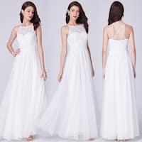 Ever-Pretty Women's Halter Neck Lace White Wedding Dress Bridal Gown 07514