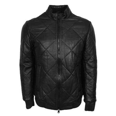 BOSS Hugo Boss Men's Black Quilted Lambskin Leather Biker Jacket 44R