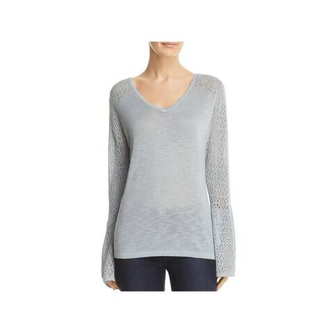 Avec Womens V-Neck Sweater Pointelle Pullover