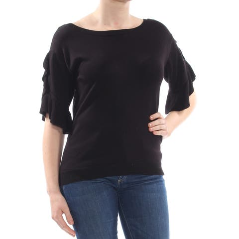 NY COLLECTION Womens Black Ruffled Low Back 3/4 Sleeve Jewel Neck Sweater Size: M