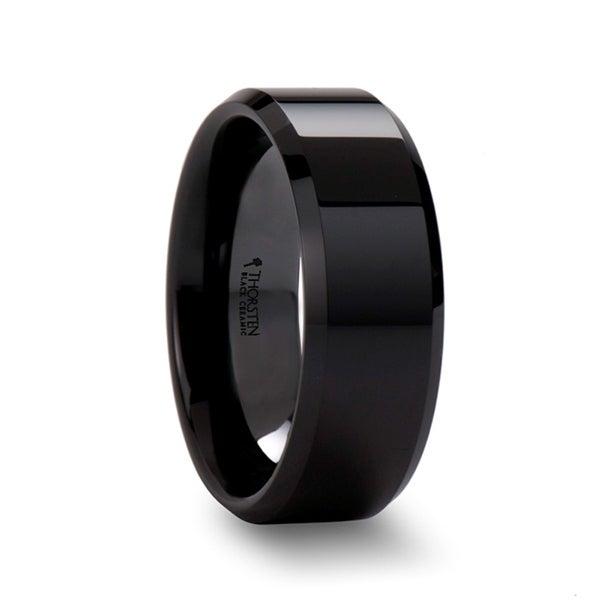 Citar Black Ceramic Wedding Band With Beveled Edges And Polished Finish