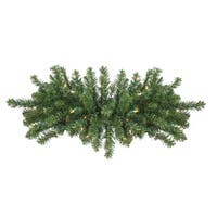 """32"""" Pre-Lit Canadian Pine Artificial Christmas Door Swag - Clear Lights - green"""