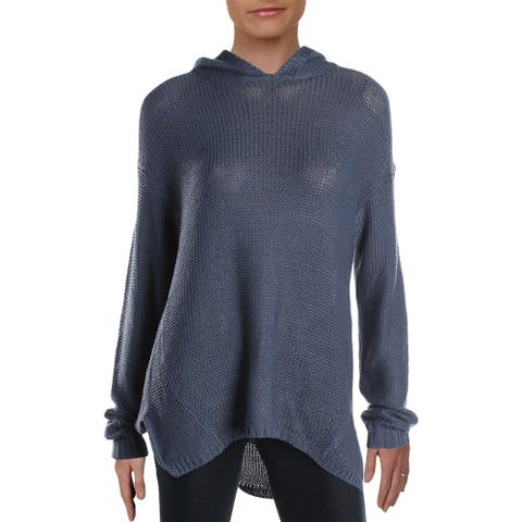 Aqua Womens Pullover Sweater Hooded Woven - Blue Horizon - L
