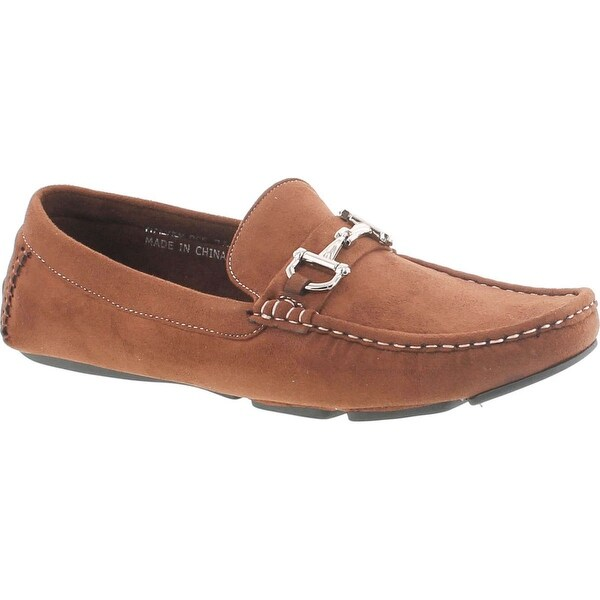 Amali Mens Brown Plush Microfiber Loafer Driving Shoe With Silver Buckle: Style Walken-065