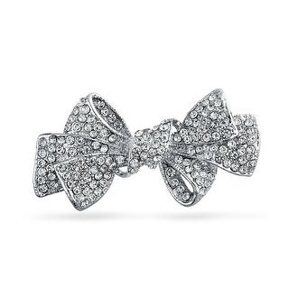 Bling Jewelry Small Ribbon Pin Clear Crystal Bow Brooch Silver Plated