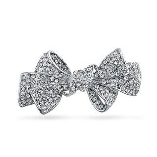 Fashion Statement Ribbon Shape Crystal Scarf Bow Brooch Pin