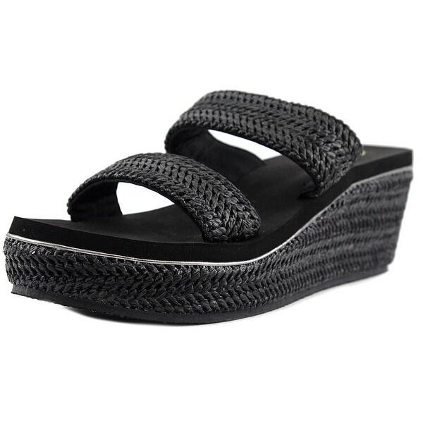 Volatile Janice Women  Open Toe Leather Black Wedge Sandal