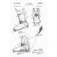 Ski Boot Patent Poster (Graphite on Blue Graph) - Sports Patents - 24x16 Poster