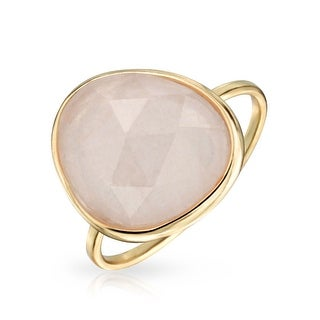 Bling Jewelry Imitation Rose Quartz  Sterling Silver Ring - Pink