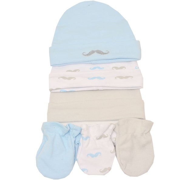 Little Beginnings Baby Boys Light Blue Cream Moustache Print Caps Mittens Set