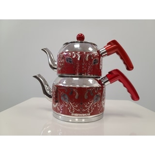 DiscountWorld Tulip Stainless Steel, Turkish Teapot for 2 people, 2 qt - 2 qt.