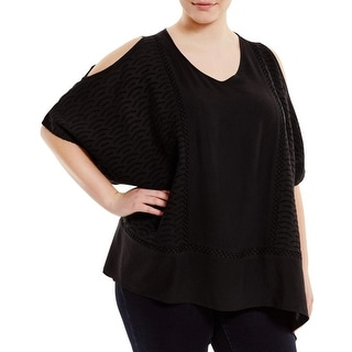 Love Scarlett Womens Plus Poncho Top Eyelet Cold Shoulder