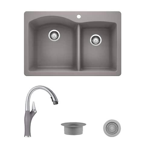 Blanco Diamond/Artona Dual Mount Sink and Faucet Set, Strainer and Flange - N/A