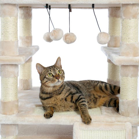 67 Inch Multi-Level Cat Tree Tower with Cozy Perches