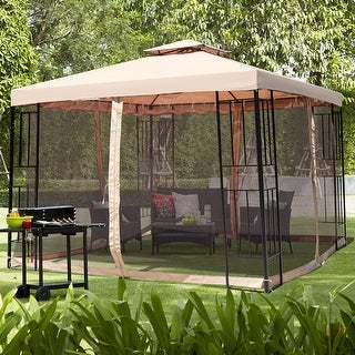 Gymax 10x10ft Metal Gazebo W/ Mosquito Netting Canopy Gazebo 2 Tier Vented Gazebo Top