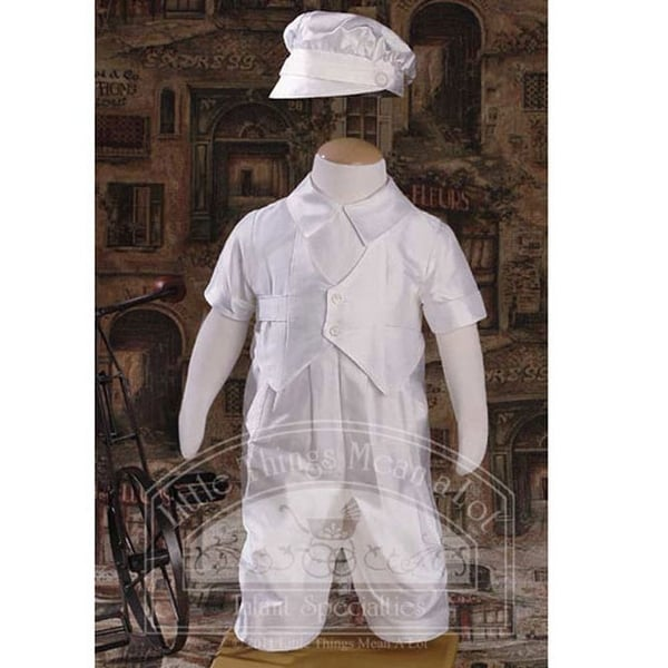 Baby Boys Off White Silk Dupioni Vested Baptism Coverall Size 3M-12M