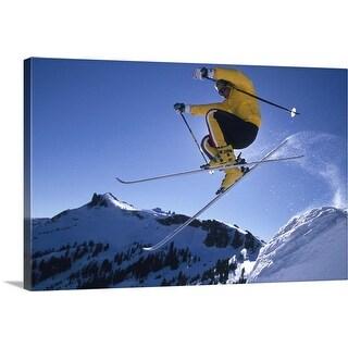 """Downhill Skier Jumping"" Canvas Wall Art"