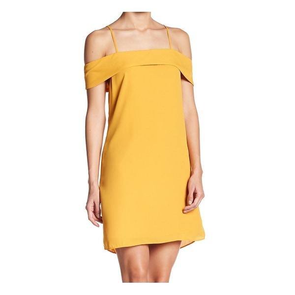 61b2467c02477 socialite Yellow Womens Size Large L Off-Shoulder Sheath Dress