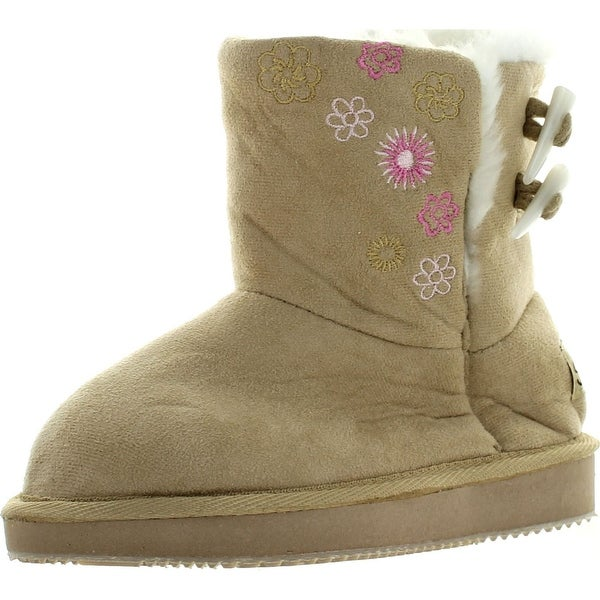 Sunville S-91007 Girls Winter Boots Kids Childrens Faux Suede Warm Fur Lined Button Shoes 3 Colors