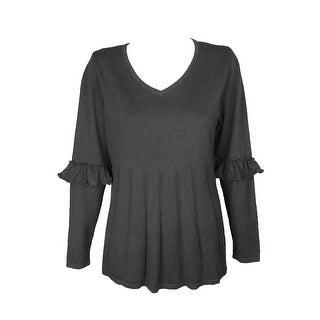 Style Co Plus Size Black Heather Ruffled-Sleeve Pleated V-Neck Sweater 3X