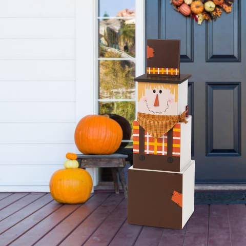 "Glitzhome 36""H Wooden Double-Sided Snowman and Scarecrow Porch Decor"