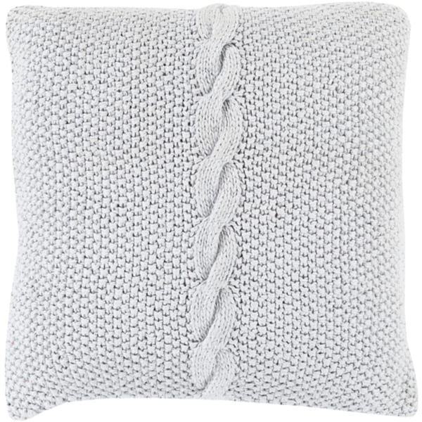 "18"" Warm Gray Knitted Decorative Throw Pillow - Down Filler"