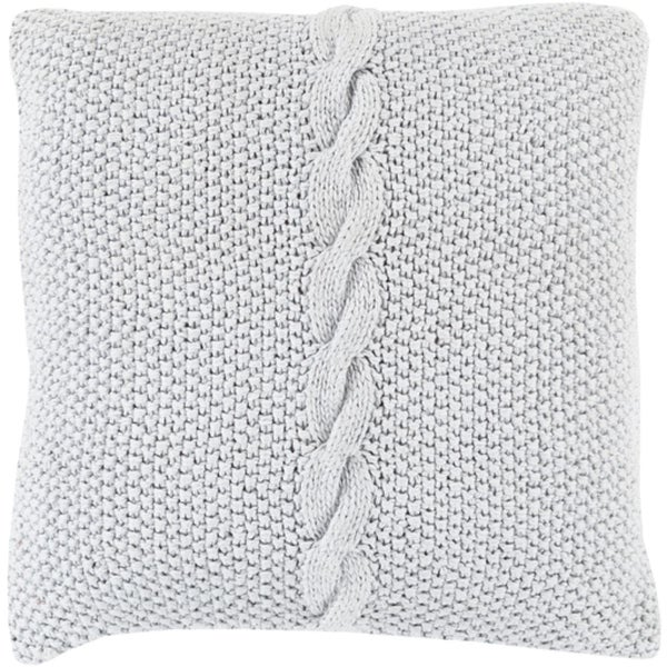 """20"""" Warm Gray Knitted Decorative Throw Pillow - Down Filler"""