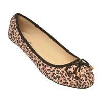Qupid Adult Tan Brown Leopard Pattern Tie Accent Slip-On Flats