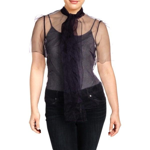 Anne Klein Womens Pheonix Blouse Organza Sheer