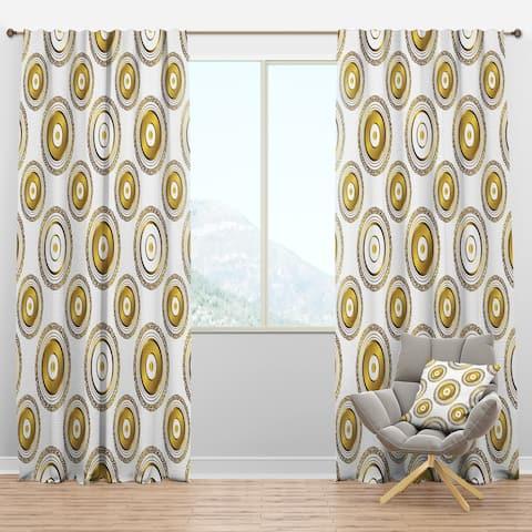 Designart 'Circular Golden Pattern I ' Mid-Century Modern Blackout Curtain Panel
