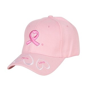 Breast Cancer Awareness Pink Ribbon Logo Hat, Hope Faith Love