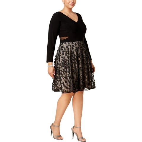 Xscape Womens Plus Party Dress Illusion Long Sleeves