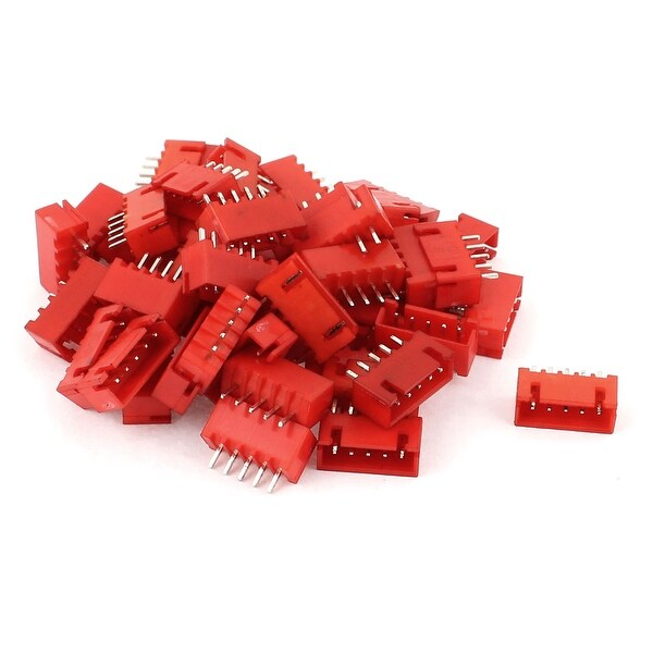 Unique Bargains 50Pcs 2.54mm Pitch 5-pin Single Row Straight Female Pin Header Strip Red