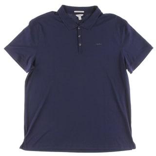 Calvin Klein Mens Polo Shirt Side Slit Ribbed Trim - 2XL