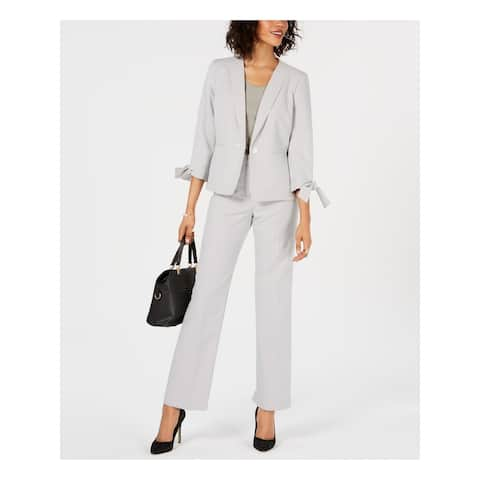 LE SUIT Womens White Striped Wear To Work Pant Suit Size 18