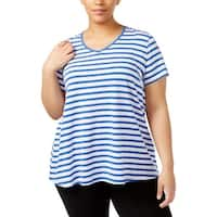 Calvin Klein Performance Womens Plus Shirts & Tops Striped Fitness
