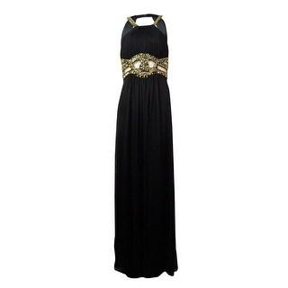 Xscape Women's Beaded Mesh Pleated Dress - Black - 6