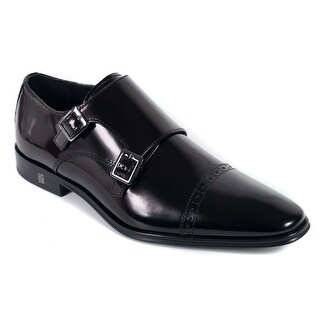 Versace Collection Mens Black Polished Leather Monkstrap Oxfords