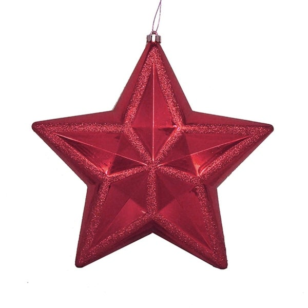 """12"""" Shiny Burgundy Commercial Size Shatterproof Star Christmas Ornament - RED"""