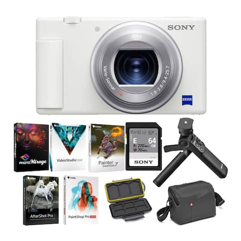 Sony ZV-1 Camera for Content Creators & Vloggers(White) Vlogger Bundle