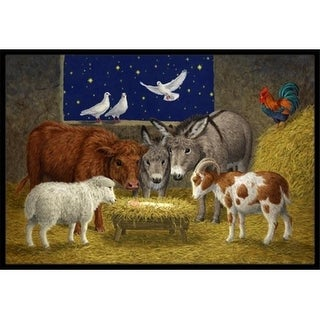 Carolines Treasures ASA2205MAT Animals at Crib Nativity Christmas Scene Indoor or Outdoor Mat 18 x 27