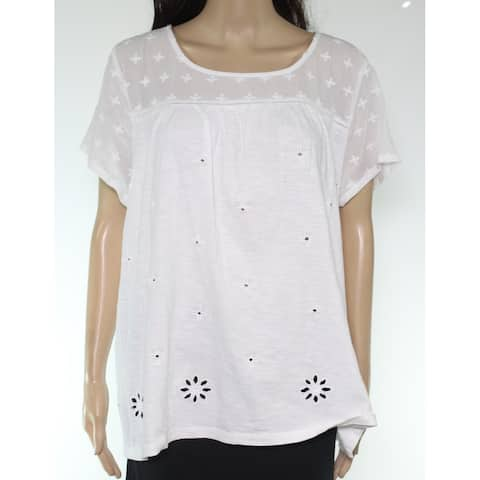 Fat Face Womens Blouse Bright White Size 14 Embroidered Scoop Neck