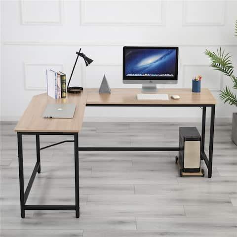 TiramisuBest L-Shaped Home Office Corner Desk Computer Desk-Black+Wood Color