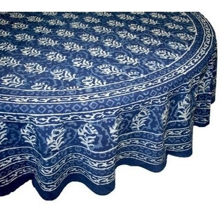 Bon Handmade Dabu Floral Block Print 100% Cotton Tablecloth Indigo Blue  Rectangular Square Round