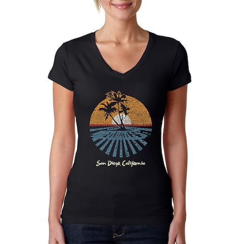 Women's Word Art V-Neck T-Shirt - Cities In San Diego