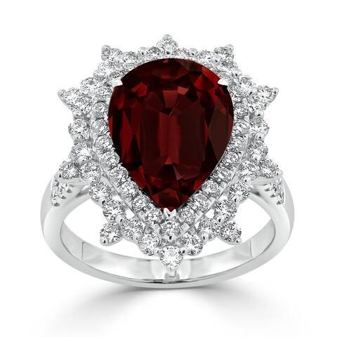 Auriya 5 7/8ct Pear-cut Red Garnet and Halo Diamond Ring 1 1/4ctw 18K Gold