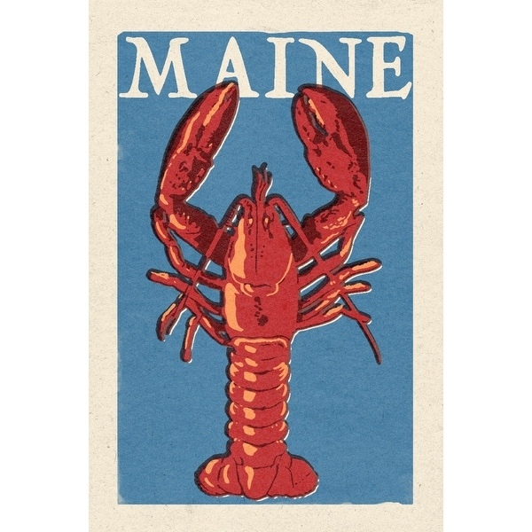 ME - Lobster Woodblock - LP Artwork (100% Cotton Towel Absorbent)