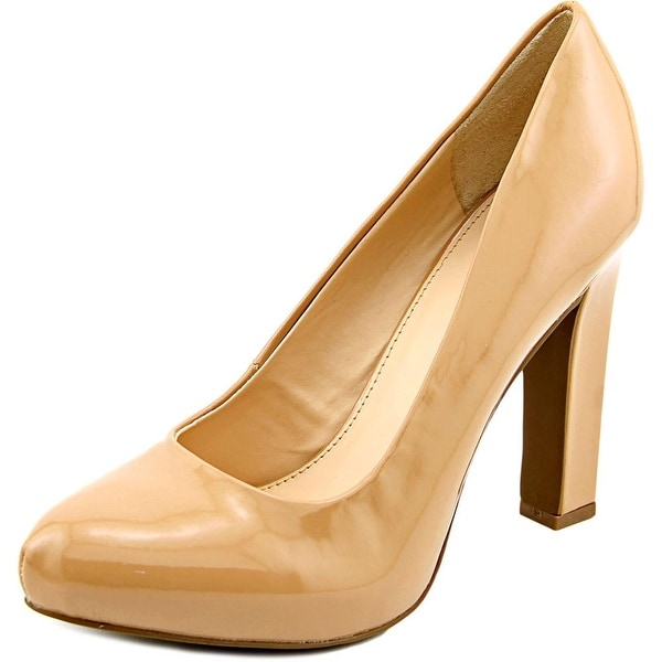 Bar III Feline Women Round Toe Patent Leather Tan Heels