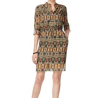 Tahari By ASL NEW Green Women's Size 14 Global-Print Shirt Dress